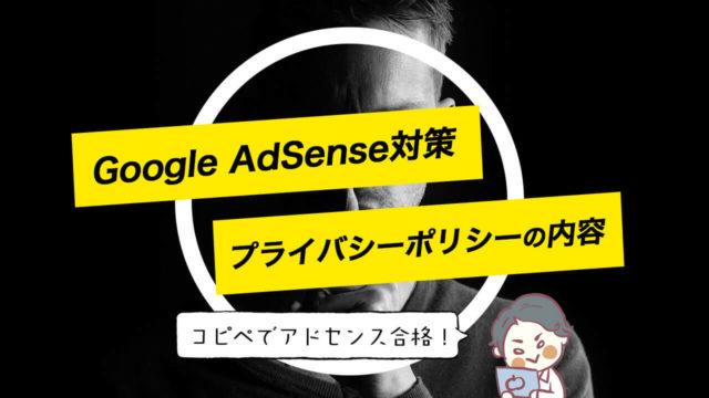 グーグルアドセンス審査を突破する「プライバシーポリシー」の内容を紹介【コピペOK!】