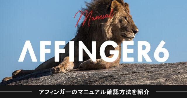【設定でお困りの方へ】アフィンガー6(AFFINGER6)のマニュアル確認方法を紹介